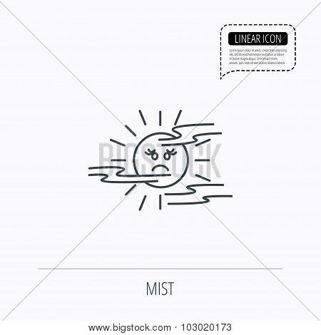 Mist icon. Fog with sun sign.