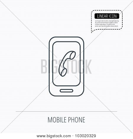 Smartphone icon. Cellphone with touchscreen sign