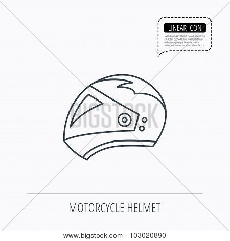 Motorcycle helmet icon. Biking sport sign.