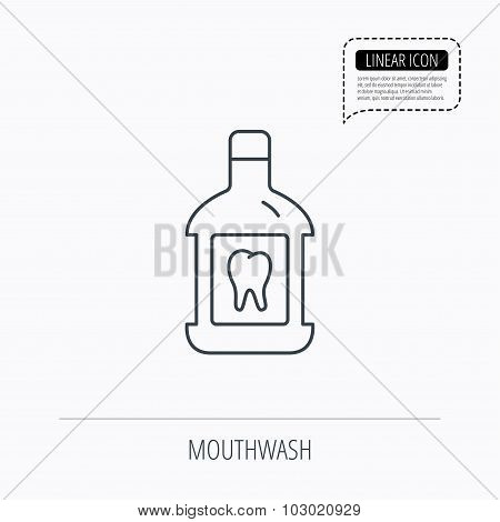 Mouthwash icon. Oral antibacterial liquid sign.
