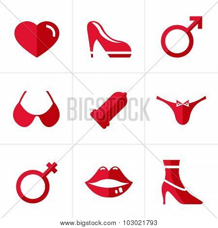 Flat Icon  Sex And Xxx Icons Set, Vector Design