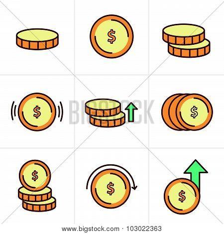 Coins Icons Set, Vector Design