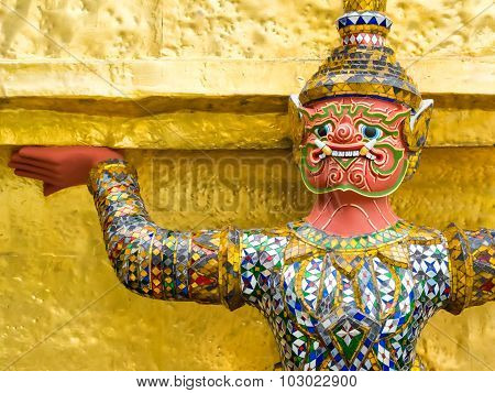 Demon Guardian At The Grand Palace In Bangkok, Thailand