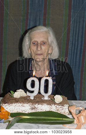 Old Lady Celebrating Her 90Th Birthday