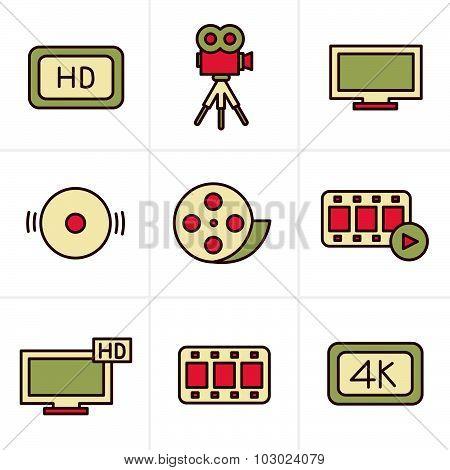 Icons Style Movie Icons Set