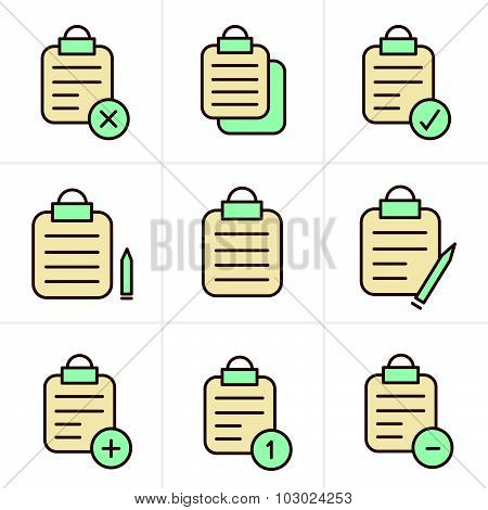 Icons Style  Vector Isolated Clipboard, List Icons Set