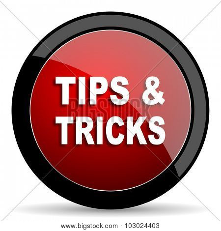 tips tricks red circle glossy web icon on white background, round button for internet and mobile app