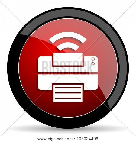 printer red circle glossy web icon on white background, round button for internet and mobile app