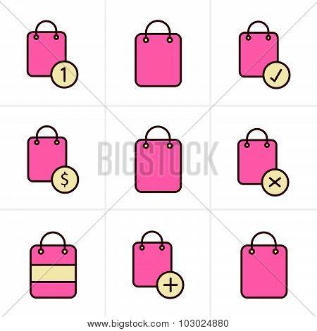 Icons Style Shopping Bag Icons On White Background. Vector Illustration.