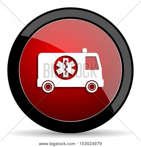 ambulance red circle glossy web icon on white background, round button for internet and mobile app