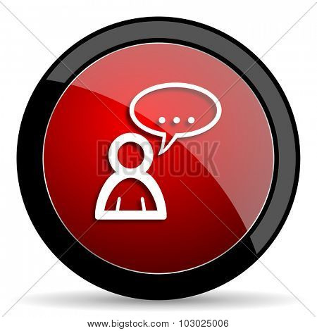 forum red circle glossy web icon on white background, round button for internet and mobile app