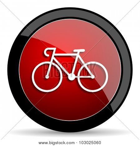 bicycle red circle glossy web icon on white background, round button for internet and mobile app