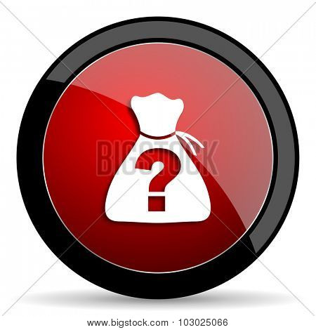 riddle red circle glossy web icon on white background, round button for internet and mobile app