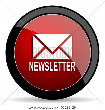 newsletter red circle glossy web icon on white background, round button for internet and mobile app