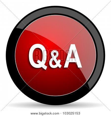question answer red circle glossy web icon on white background, round button for internet and mobile app
