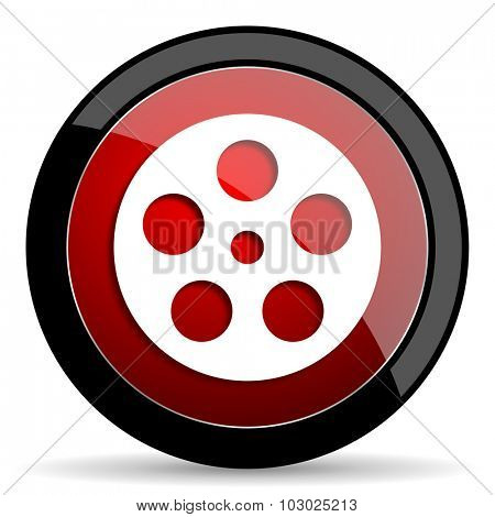 film red circle glossy web icon on white background, round button for internet and mobile app