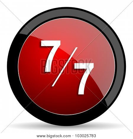 7 per 7 red circle glossy web icon on white background, round button for internet and mobile app