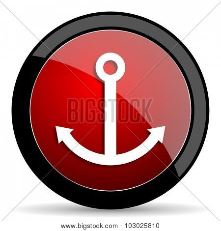 anchor red circle glossy web icon on white background, round button for internet and mobile app