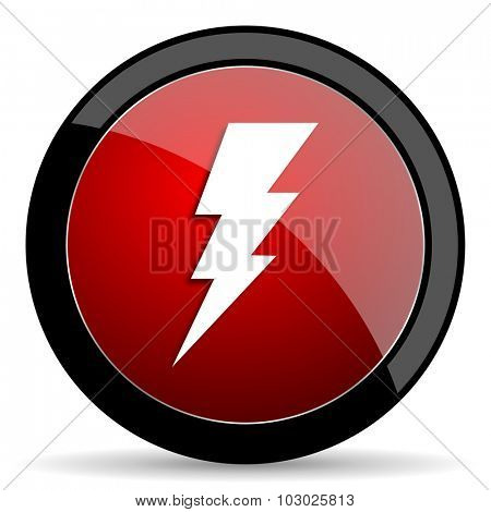 bolt red circle glossy web icon on white background, round button for internet and mobile app
