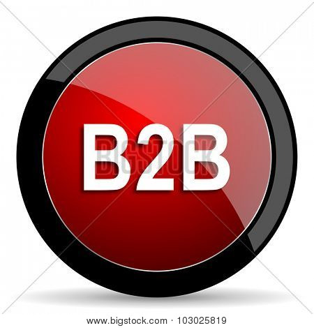 b2b red circle glossy web icon on white background, round button for internet and mobile app