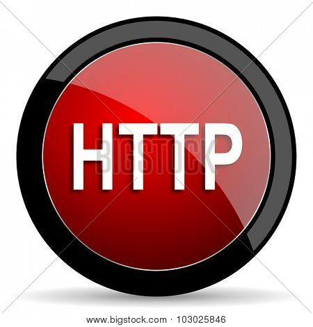 http red circle glossy web icon on white background, round button for internet and mobile app