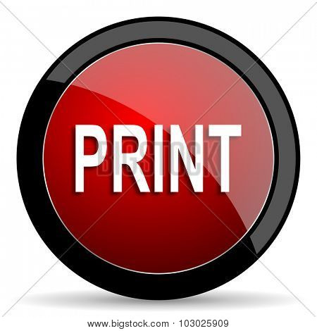print red circle glossy web icon on white background, round button for internet and mobile app