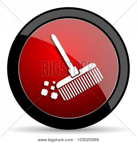 broom red circle glossy web icon on white background, round button for internet and mobile app