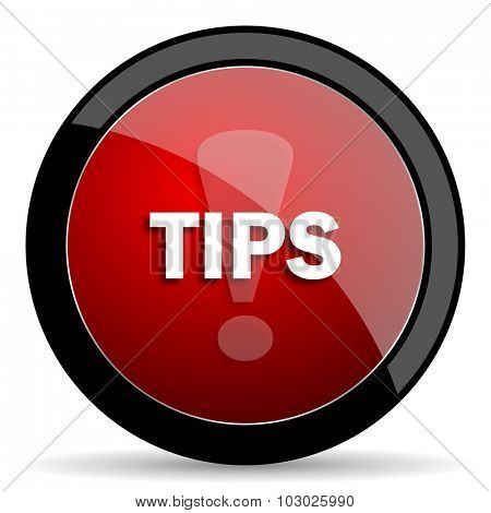 tips red circle glossy web icon on white background, round button for internet and mobile app
