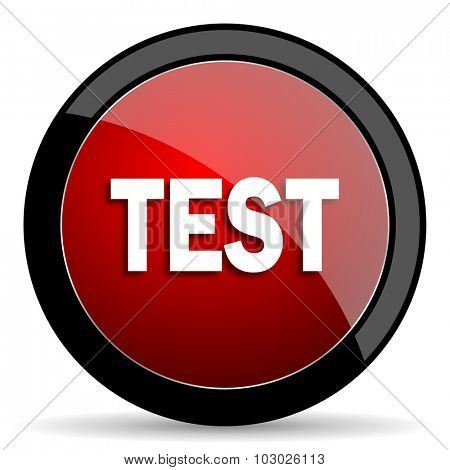 test red circle glossy web icon on white background, round button for internet and mobile app