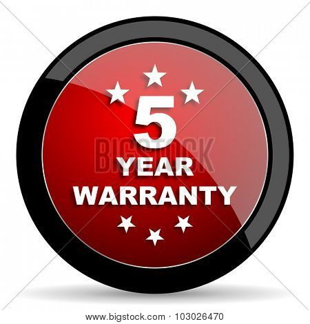 warranty guarantee 5 year red circle glossy web icon on white background, round button for internet and mobile app