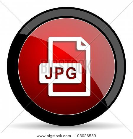 jpg file red circle glossy web icon on white background, round button for internet and mobile app