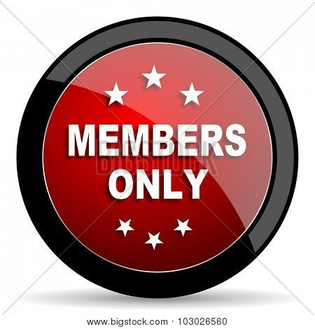 members only red circle glossy web icon on white background, round button for internet and mobile app