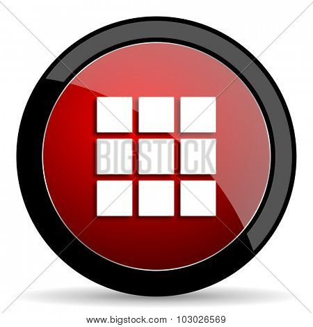 thumbnails grid red circle glossy web icon on white background, round button for internet and mobile app