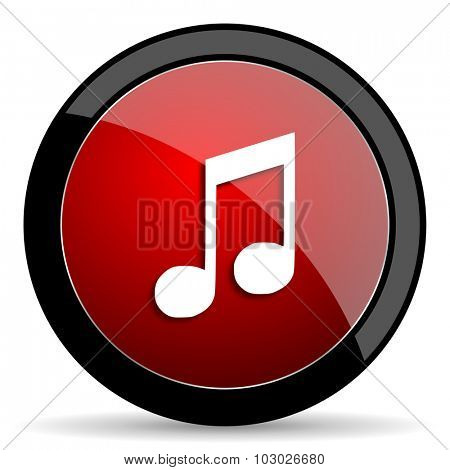 music red circle glossy web icon on white background, round button for internet and mobile app
