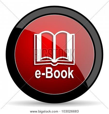 book red circle glossy web icon on white background, round button for internet and mobile app