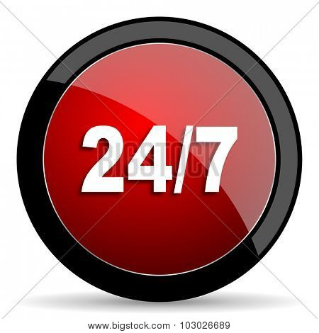 24/7 red circle glossy web icon on white background, round button for internet and mobile app