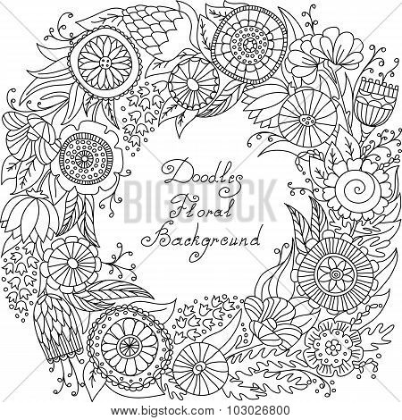 vector black and white floral frame pattern