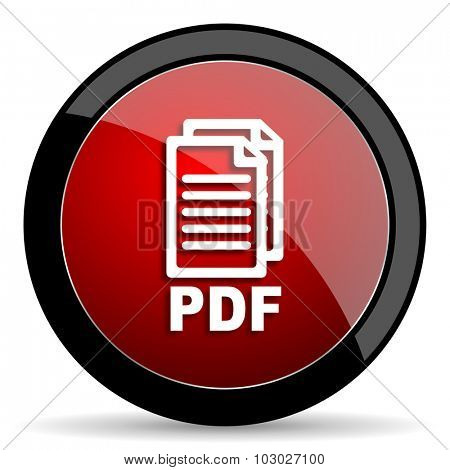 pdf red circle glossy web icon on white background, round button for internet and mobile app,