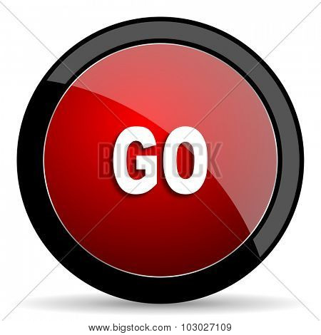 go red circle glossy web icon on white background, round button for internet and mobile app