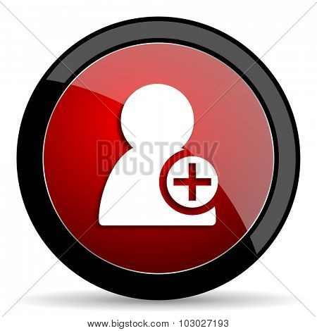 add contact red circle glossy web icon on white background, round button for internet and mobile app