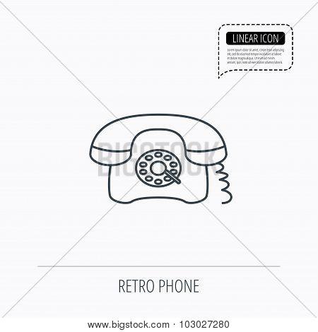 Retro phone icon. Old telephone sign.