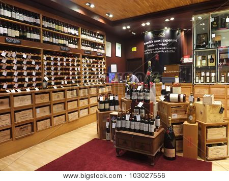 Wine store at Dubai Duty Free at the International Airport