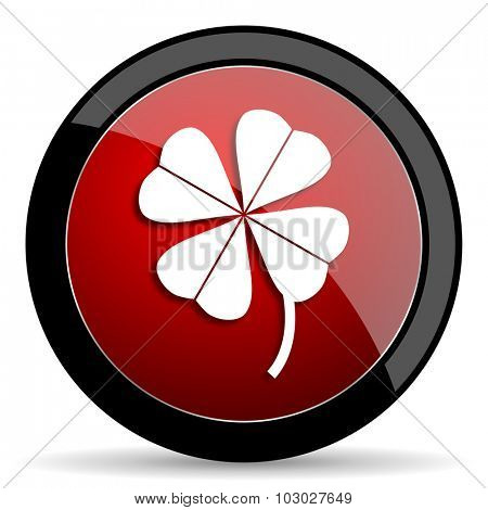 four-leaf clover red circle glossy web icon on white background, round button for internet and mobile app