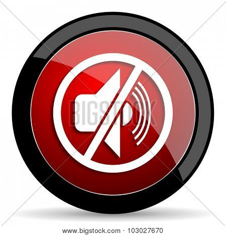 mute red circle glossy web icon on white background, round button for internet and mobile app