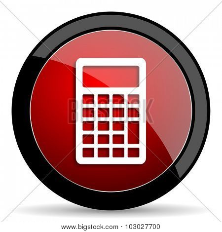 calculator red circle glossy web icon on white background, round button for internet and mobile app