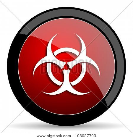 biohazard red circle glossy web icon on white background, round button for internet and mobile app