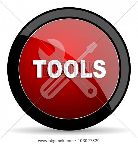 tools red circle glossy web icon on white background, round button for internet and mobile app