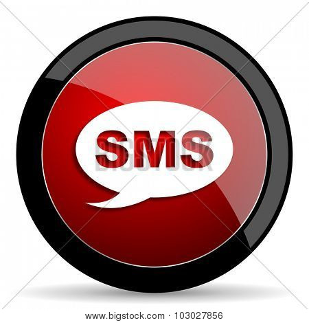 sms red circle glossy web icon on white background, round button for internet and mobile app