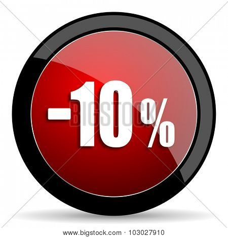 10 percent sale retail red circle glossy web icon on white background, round button for internet and mobile app