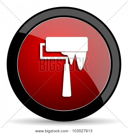 brush red circle glossy web icon on white background, round button for internet and mobile app